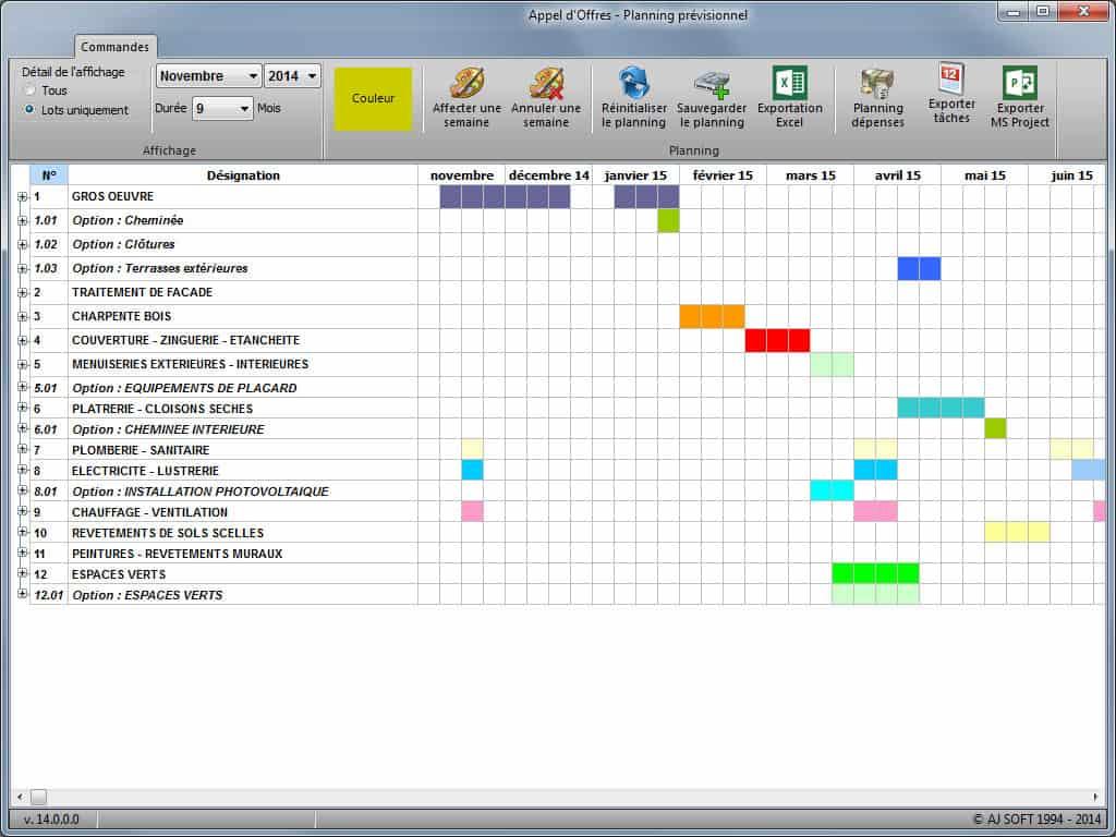 Appel d'offres : Planning prévisionnel